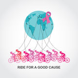 Cancer awareness  cycling race or competition. ride for a good cause and charity Stock Images