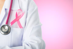Cancer awareness medical stick ribbon for healthcare Royalty Free Stock Images