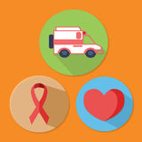 Cancer Awareness stickers elements. Ambulance, ribbon, heart Royalty Free Stock Image