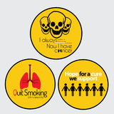 Cancer Awareness stickers. Set of 3 Cancer Awareness stickers in Yellow color Stock Photos