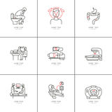 Cancer of the bowel set icons Royalty Free Stock Photos