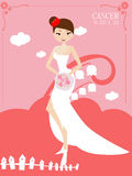 Cancer bride. Illustration of cute cancer bride Royalty Free Stock Images