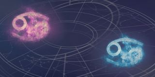 Cancer and Cancer horoscope signs compatibility. Night sky Abstract background. stock image