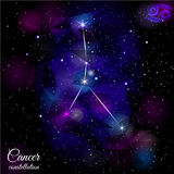 Cancer Constellation With Triangular Background. Stock Photo