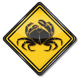 Cancer and crab. Sign cancer and crab in the sea Royalty Free Stock Images