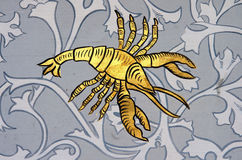 Cancer the crab zodiac sign. Ancient wall painting of a zodiac symbol of cancer stock images