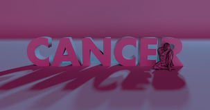 Cancer - 3d render lettering near low poly man illustration. Red cancer text sign next to low poly sad man, 3d render illustration Stock Photos