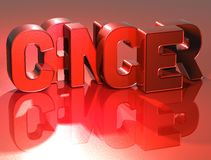 Cancer de 3D Word sur le fond rouge Photo libre de droits