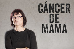 Cancer de Mama, Spanish text for Breast Cancer woman writing on Stock Image