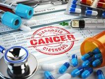 Cancer diagnosis. Stamp, stethoscope, syringe, blood test  Stock Image