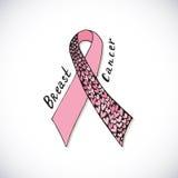 Cancer du sein avec le ruban rose fleuri avec des cerfs L'illustration tirée par la main de vecteur peut être employée pour l'aff Images stock