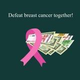 Cancer du sein rose de bande Argent pour le diagnostic et le traitement du cancer du sein charité Illustration de vecteur Photos stock