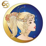 cancer En ung härlig flicka i form av en av teckennollan royaltyfri illustrationer
