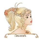 cancer En ung härlig flicka i form av en av teckennollan vektor illustrationer
