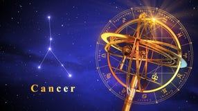 Cancer för Armillary sfär och konstellationöver blå bakgrund royaltyfri illustrationer