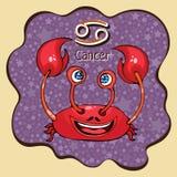 Cancer för zodiakteckentecknad film, astrologiskt tecken, handteckning Målad rolig cancer i ramen i form av en abstrakt pur royaltyfri illustrationer