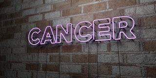 CANCER - Glowing Neon Sign on stonework wall - 3D rendered royalty free stock illustration. Can be used for online banner ads and direct mailers Royalty Free Stock Image