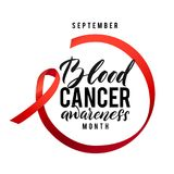 Cancer hope. Blood Cancer Awareness Label. Vector Tamplate with Red Ribbon - Symbol of Cancer Fight.  Royalty Free Stock Image