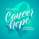 Cancer hope. Ovarian Cancer Awareness Label. Vector Tamplate with Teal Ribbon - Symbol of Cancer Fight.  Stock Photos