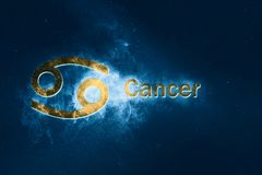 Cancer Horoscope Sign. Abstract night sky background royalty free illustration