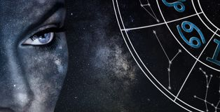Cancer Horoscope Sign. Astrology women night sky background royalty free stock image