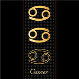 Cancer Horoscope Symbols. Golden embossed zodiac icons in three styles for the astrology Water Sign, Cancer, with textured black background Royalty Free Stock Images