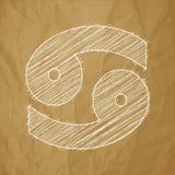Cancer 21 Juni - 20 Juli HOROSKOPSTJÄRNTECKEN - vit klottrar på en skrynklig pappers- brun bakgrund royaltyfri illustrationer