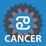 cancer Krabba Zodiaksymbol med mandalatrycket gears symbolen royaltyfri illustrationer