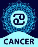 cancer Krabba Zodiaksymbol med mandalatrycket också vektor för coreldrawillustration vektor illustrationer