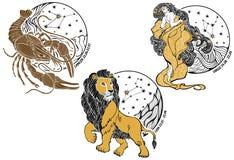 Cancer, Lejonet, Jungfru och zodiaken sign.Horoscope.Sta stock illustrationer