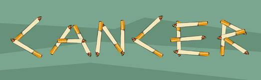 Cancer lettering made of cigarettes. Smoking leads to cancer concept. Cigarette letters. Vector illustration for anti tobacco agit Royalty Free Stock Photos
