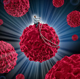 Cancer Management. And treatment for cancerous cells as a medical concept with a doctor guiding a malignant cell away from the human body as a symbol of Royalty Free Stock Images