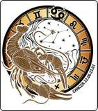 Cancer och zodiaktecknet. Horoskopcirkel. Vektor Vektor Illustrationer