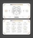 Cancer orientering för format för fack för 2018 år zodiakkalender horisontal vektor illustrationer