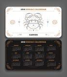 Cancer orientering för format för fack för 2018 år zodiakkalender horisontal stock illustrationer