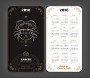 Cancer orientering för lodlinje för format för fack för 2018 år zodiakkalender vektor illustrationer