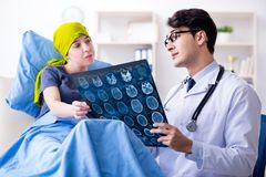 Cancer patient visiting doctor for medical consultation in clini. C Royalty Free Stock Image