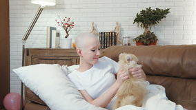 Cancer patient woman lying on the sofa and playing with a little cute dog stock video footage