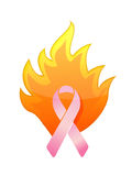 Cancer pink burning ribbon illustration Stock Photo