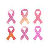 Cancer pink ribbons set Royalty Free Stock Image