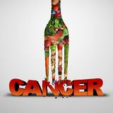 Cancer Prevention Health Symbol. Cancer prevention and killing malignant diseases eating healthy food as a medical nutrition lifestyle concept with 3D stock illustration