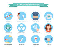 Cancer prevention icons. Healthcare and medical icon set. Royalty Free Stock Photo