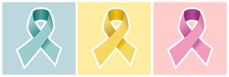 Cancer ribbon set on colored backgrounds. stock photo