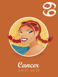 Cancer sign vector. Female cancer sign  vector illustration Royalty Free Stock Photo