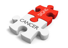 Cancer signs and symptoms concept with two linked puzzle pieces, 3D rendering Stock Image