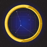 Cancer star horoscope zodiac in fish eye telescope with cosmos background. Cancer star horoscope zodiac in fish eye telescope golden ring frame with cosmos Stock Photography