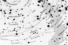 Cancer on star map. Image of the constellation Cancer on a star map stock photography
