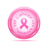 Cancer support icon with pink ribbon Stock Photography