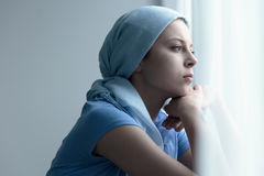 Cancer survivor in a scarf Royalty Free Stock Images
