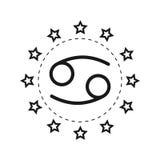 cancer Tecken av zodiaken Plana symbolhoroskop och förutsägelser Lilor spikar polerar med silverlocket på en vit bakgrund royaltyfri illustrationer